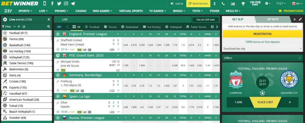 Betwinner Sports Betting